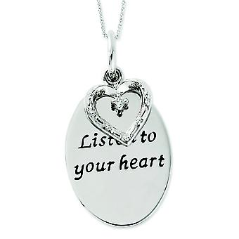 Sterling Silver Antiqued CZ Listen To Your Heart 18inch Heart Necklace