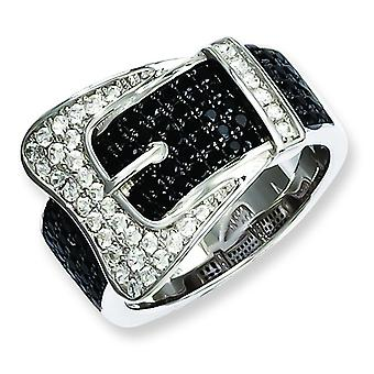 Sterling Silver and Cubic Zirconia Brilliant Embers Buckle Ring - Ring Size: 6 to 8