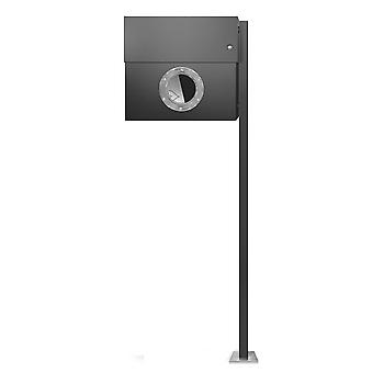 RADIUS-standaard brievenbus Letterman XXL antraciet grijs RAL 7016 incl. krant sleuf, LED-Ring wit + posts 567 G KW