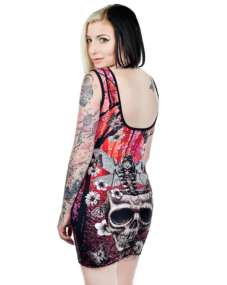Too Fast Womens Moth Skull Bodycon Black Red Sleeveless Bettie Dress