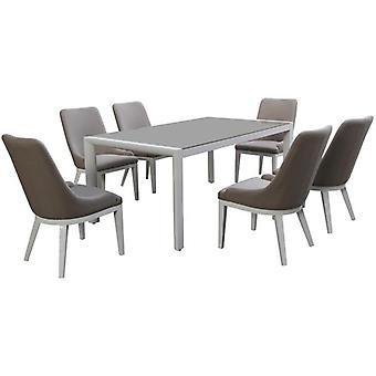 Maze Lounge Pacific All Weather Fabric 6 Seat Rectangular Dining Set