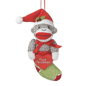 休日の装飾をストッキングで中西部 CBK Babys の最初クリスマス靴下猿