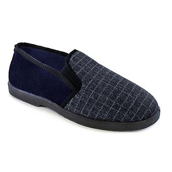SlumberzzZ Mens Small Check And Plain Fullback Fleece Lined Slip On Slipper