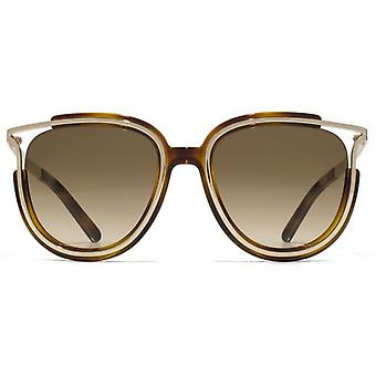 Chloe Jayme Feminine Round Sunglasses In Light Havana