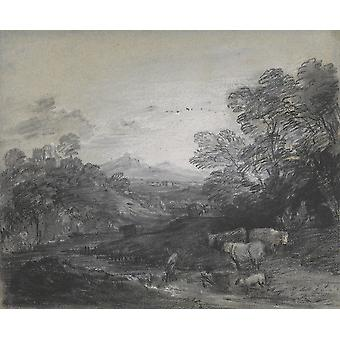 Thomas Gainsborough - Wooded Landscape with Herdsmen Poster Print Giclee
