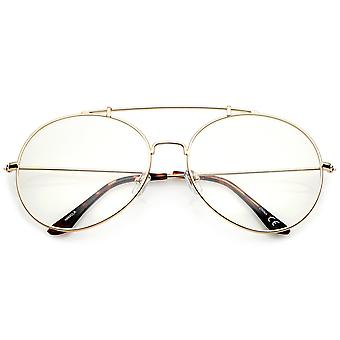 Classic Oversize Metal Frame Slim Temple Crossbar Clear Lens Round Eyeglasses 59mm
