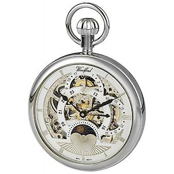 Woodford Chrome Plated Twin Time Zone Open Face Skeleton Mechanical Pocket Watch - Silver