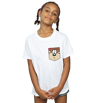 Looney Tunes Girls Tasmanian Devil Face Faux Pocket T-Shirt