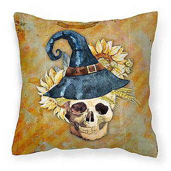 Day of the Dead Witch Skull  Fabric Decorative Pillow