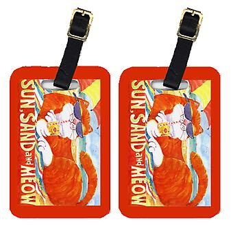 Carolines Treasures  6050BT Pair of 2 Orange Tabby at the beach Luggage Tags
