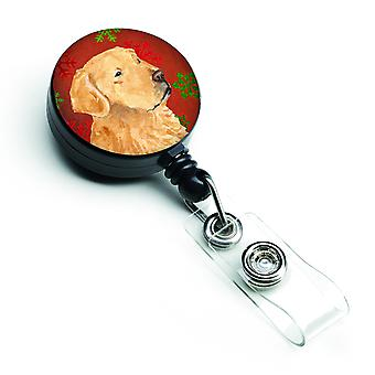 Golden Retriever Red Green Snowflake Holiday Christmas Retractable Badge Reel