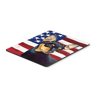 Carolines Treasures  LH9004MP USA American Flag with Min Pin Mouse Pad, Hot Pad