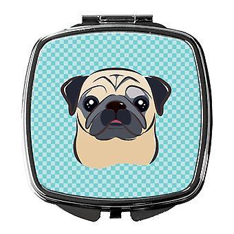 Carolines Treasures  BB1200SCM Checkerboard Blue Fawn Pug Compact Mirror