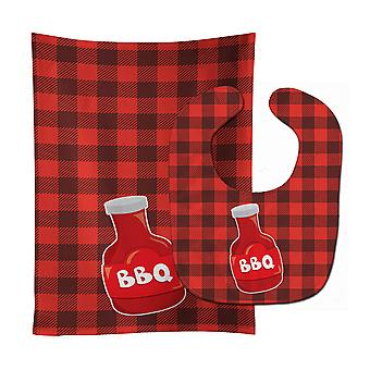 Carolines Treasures  BB8633STBU Backyard BBQ Sauce Baby Bib & Burp Cloth