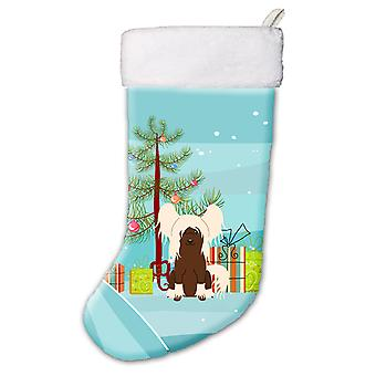 Merry Christmas Tree Chinese Crested Cream Christmas Stocking