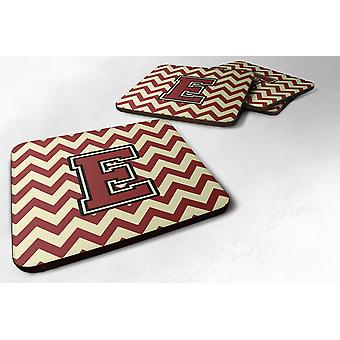 Set of 4 Letter E Chevron Maroon and Gold Foam Coasters Set of 4