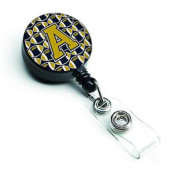 Letter A Football Blue and Gold Retractable Badge Reel