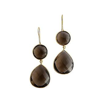 Gemshine - CANDY - smoky quartz - brown - gold plated ladies - earrings - 925 Silver - - drop - 6 cm