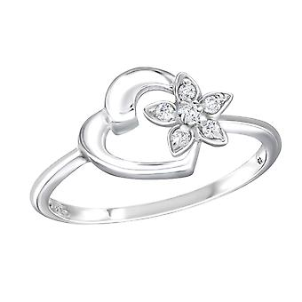 Heart - 925 Sterling Silver Jewelled Rings - W18953x