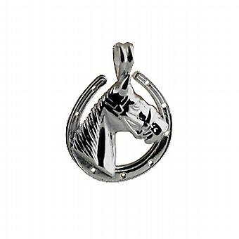 Silver 22x20mm Horse Head in Horseshoe Pendant
