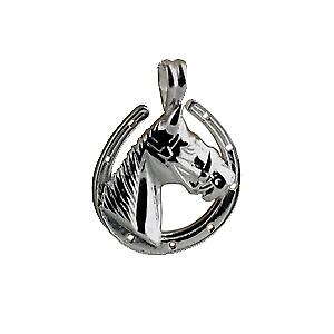 Silver 22x20mm horse head with horse shoe Pendant