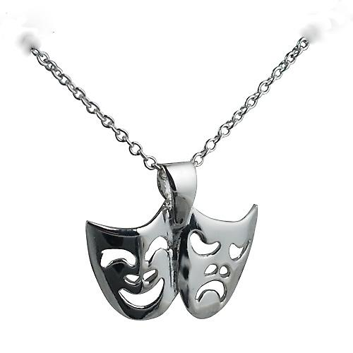 Silver 12x19mm Theatrical Comedy and Tragedy Pendant with a rolo Chain 16 inches Only Suitable for Children