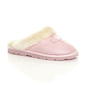 Ajvani womens platt vintern faux fårskinn päls fodrad slip på lyx mulor tofflor skor