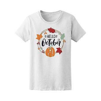 Hello October Bright Fall Leaves Tee Women's -Image by Shutterstock