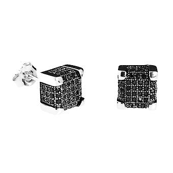925 Silver MICRO PAVE earrings - IMPERIAL 9 mm black