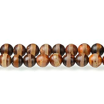 Strand 40+ Brown/Black Tibetan Agate 8mm Frosted Plain Round Beads CB50958-2