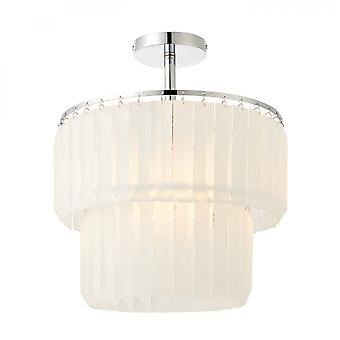 Chrome Effect Plate & Frosted Glass 1lt Semi Flush 60W