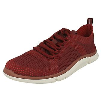 Mens Clarks Lace Up Trainers Triken Run - Brick Red Textile - UK Size 11G - EU Size 46 - US Size 12M