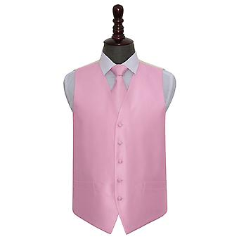 Light Pink Solid Check Wedding Waistcoat & Tie Set