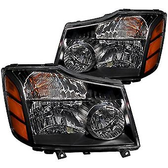 Anzo USA 111069 Nissan Black With Amber Reflectors Headlight Assembly - (Sold in Pairs)