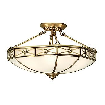 Interiors 1900 Bannerman White Frosted Semi Flush Tiffany Ceiling Light