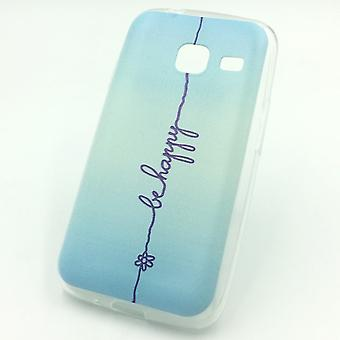 Cell phone case for Samsung Galaxy J1 mini be happy blue Pouch Case + 1 x tank protection glass