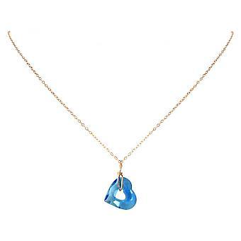 Panie - Naszyjnik - Naszyjniki - wzrosła pozłacane - serce - otwarte serce - niebieski - 45 cm