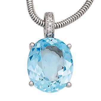 Wisiorki 585 złota złoto białe 1 niebieski Topaz 5 diamentów genialny 0, 03 ct.