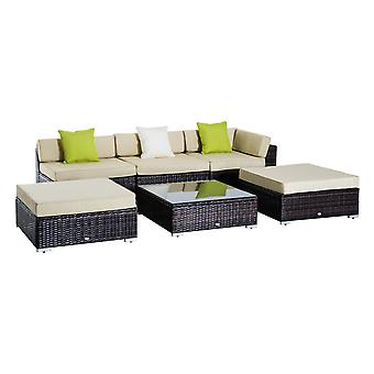 Outsunny 6 Pieces Wicker 6 Pieces Wicker Rattan Funiture Set Deluxe Garden Conservatory Cushion Sofa Deluxe Garden Conservatory Cushion Sofa Deluxe