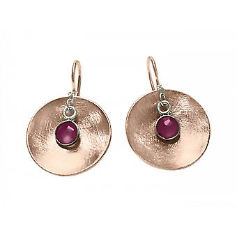 Ladies earrings 925 Silver rose gold plated shell Ruby Red 3 cm