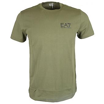 EA7 by Emporio Armani Cotton Plain Printed Stretch Khaki T-shirt