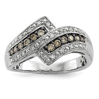 925 Sterling Silver Gift Boxed Cut-out sides Rhodium-plated Champagne Diamond Fancy Two Lined Ring - Ring Size: 6 to 8