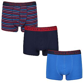 Designer 3 Pack Gift Set Mens Savile Row Trunks Everett Boxers Underwear