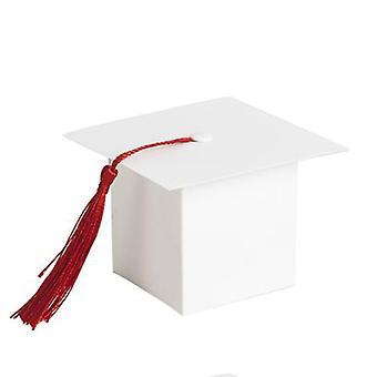 TRIXES 50PC weiße Miniatur Graduierung Gunst Boxen mit Quaste Dekoration