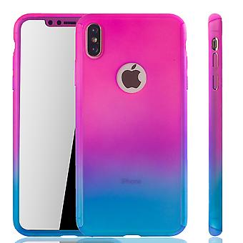 Apple iPhone protection case full cover tank protection XS Max mobile cover glass pink / blue