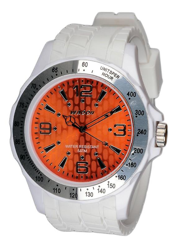 Waooh - White Silicone Watch With A Silver Bezel and Dial A Gpm48 Inspired From Monaco Grand Prix