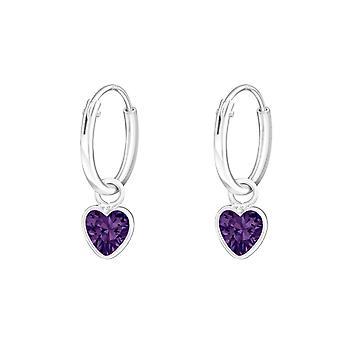 Hoops with Heart - 925 Sterling Silver Ear Hoops - W4662X
