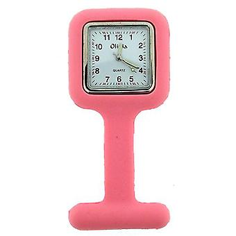 The Olivia Collection Pink Square Infection Control Rubber Nurses Fob Watch