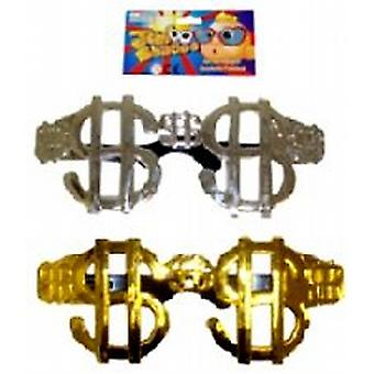 Jumbo-Sized Dollar Shaped Specs Assorted Metallic Colours (1)