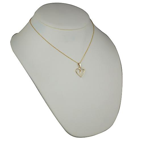 9ct Gold 18x18mm initial T in a heart Pendant with a cable Chain 18 inches